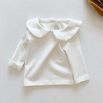 Forår nyfødte babytøj, turn-down krave, småbørn bluse, massiv bomuld,