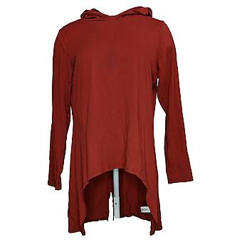 LOGO By Lori Goldstein Women's Top Hooded Hi-Low Hem Red A387240