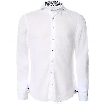 Stenstroms Slimline Linen Floral Trim Shirt
