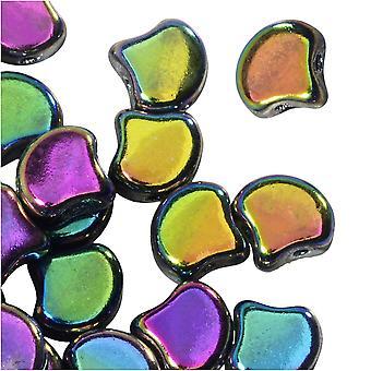 Tšekkiläinen lasi, 2-reikäinen Ginko Beads 7,5mm, 10 grammaa, Jet Full Vitrail