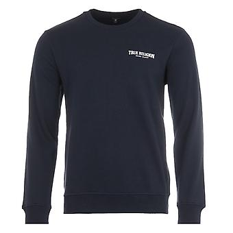 True Religion Logo Crew Neck Sweatshirt - Navy