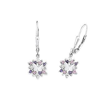 Prinzessin Lillifee 566766 - Girls' earrings with pendant, pattern: butterflies, silver 925 rhodium with multicolored zircons