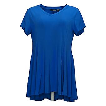 Women With Control M Petite Como Jersey Knit Godet Top Blue A394272