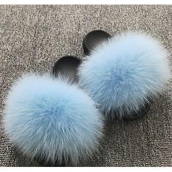 Sommar kvinnor Fox Fur Inomhus Flip Flops Casual Tofflor