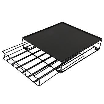 Eisen Blatt quadratische Form Schublade Turm Halter Kaffee Aufbewahrungbox schwarz