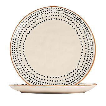 2x placas laterales de llantas manchadas de cerámica con vajilla estampada 20.5cm monocroma