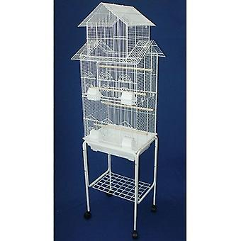 """6844 3/8"""" Bar Spacing Tall Pagoda Top Small Bird Cage With Stand - 18""""X14"""" In White"""