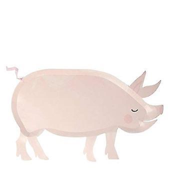 農園の豚の紙のパーティープレートのメリメリ x 12