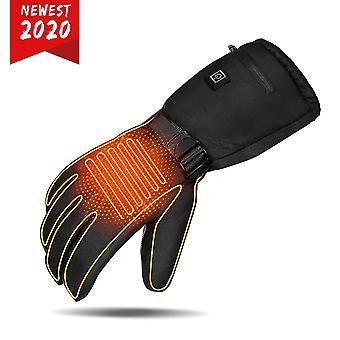 Clispeed 3 úrovne batérie-napájané vyhrievané rukavice Elektrické zimné ruka prst teplé rukavice pre lyžovanie Cyklistika Jazdectvo Veľkosť L (čierna)