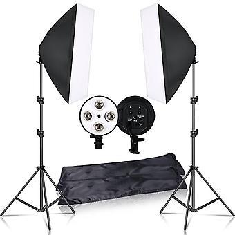 Softbox light box tripod  lighting kit 4 lamp photography flash 50x70cm e27 base holder camera feflector photo video shooting
