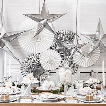 Silver Paper Hanging Star Decoration 30cm Christmas Wedding