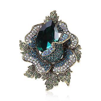Elegant Women Brooch Flower Corsage Diamond Micro-inlaid Brooch Pin
