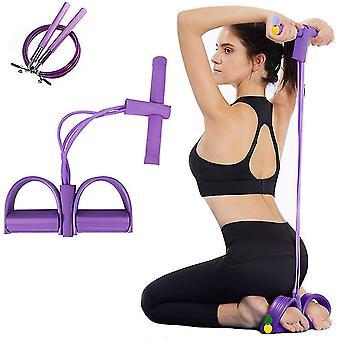 Vier Tube Rally Pedaal Pedaal Elastisch Touw Been Yoga Bodybuilding Foot Rally (Roze)