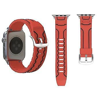 Banda de reloj de silicona en modo electrocardiograma para Apple Watch Series 3 y 2 y 1 42mm Rojo