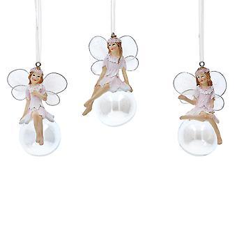 Singel Gisela Graham 8cm vit sittande harts fairy på Iriscerande Bauble juldekoration