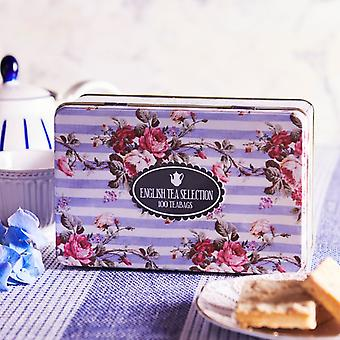 Floral tea tin with 100 teabag selection