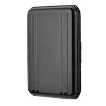 Caixa de cartão de alumínio 8SD+8TF multiuso caixa de armazenamento de viagem do cartão de memória de alumínio (preto)