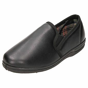JWF Slippers Black House Shoe Faux Leather Twin Gusset