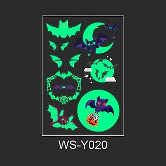 1pc Halloween Sticker Temporary Waterproof Tattoo Sticker Funny Luminous Wall Sticker Bat Stickers For Face Arm Party Decoration