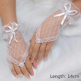 Womens Lace Patroon Korte Trouwhandschoenen