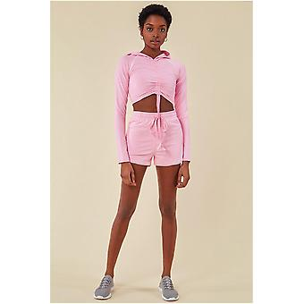 Cosmochic Jersey Short Set With Drawstring Top - Pink
