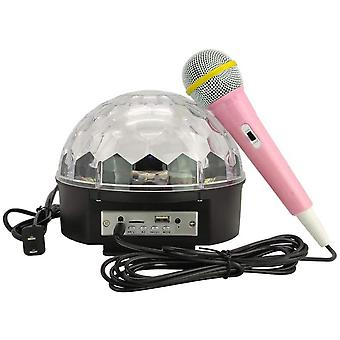 Bluetooth Disco Ball Light, 9-color Led Party Light With Karaoke Wired Microphone, Dj Sound Rotating Light Bluetooth Speaker (8.6 Inches)