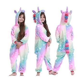 Unikornis Stitch Kigurumi Kids Gyermek Pizsama Téli flanel meleg hálóruha(120cm)