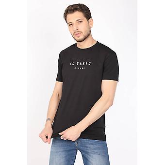 Menn Black Plain Crew Neck T-skjorte