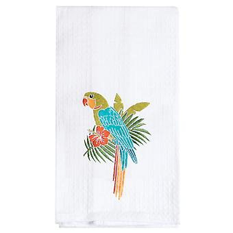 Island Time Parrot on Palm Branch Embroidered Waffle Weave Kitchen Dish Towel