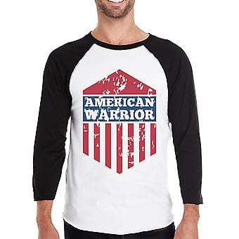 Amerikaanse Warrior Mens zwarte Baseball Jersey 3/4 mouw Tee katoen