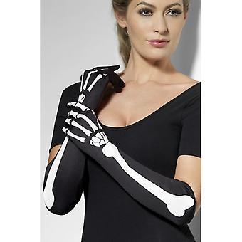 Skelet handschoenen lang horror skelet handschoenen