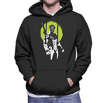 Overwatch Genji gröna Mäns Hooded Sweatshirt