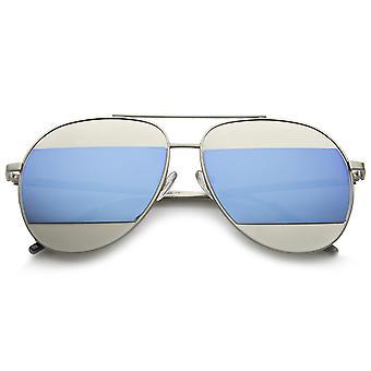 ماتي منغم اثنين المعدن جبين شريط لون انقسام مرآة عدسة النظارات الشمسية الطيار 57 مم