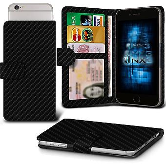 ONX3 Lenovo K3 Note Leather Universal Spring Clamp Wallet Case With Card Slot Holder and Banknotes Pocket-Carbon Black