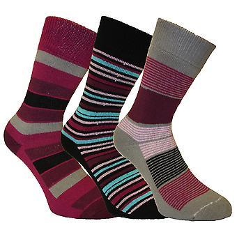 3 Pair Pack of Ladies SHORT Striped Design Warm Thermal Winter Boot Socks 4-8