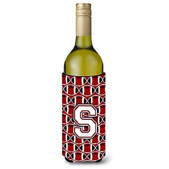 Письмо S футбол кардинал и белый Hugger изолятор напитков бутылки вина