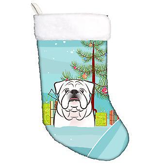 Christmas Tree and White English Bulldog  Christmas Stocking