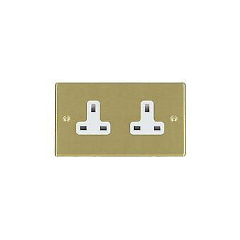 Hamilton Litestat Hartland Satiini messinki 2g 13 Unswitched Socket WH