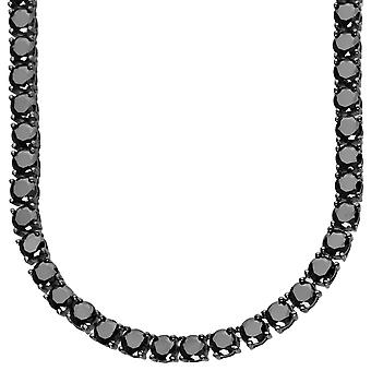 Sterling 925er Silber Black CZ Kette - ICED OUT 5mm - 90cm