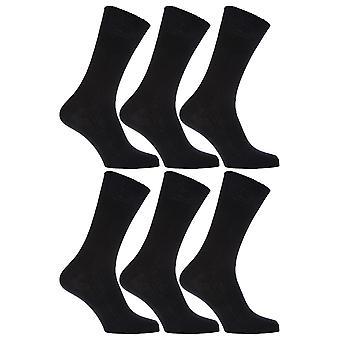 Herre 100% bomuld ikke elastisk Top blid Grip sokker (pakke med 6)