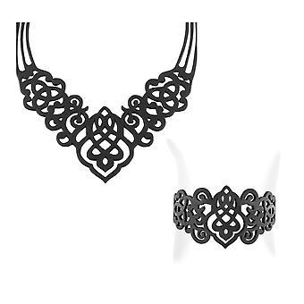 Halskæde pynnment og armbånd i silikone sort tatovering effekt 6572