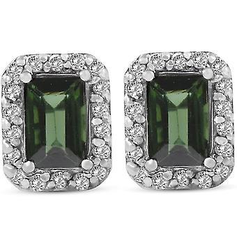 1 3 / 8ct kształt szmaragdowy zielony Turmalin Halo utorować Diamond stadniny 14K białe złoto