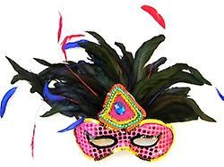 Maschera di piume rosa paillettes con pennacchio piumato