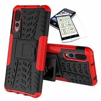 Voor Huawei P20 per hybrid case 2 stuk rode + gehard glas tas gevaldekking van mouw