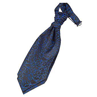 Svart & blå virvel pre bundet bröllop Cravat för pojkar