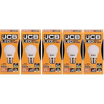 5 X JCB LED 6w = 40w BC/B22 Golf Ball Bulbs Bayonet Cap 520lm Cool White 4000k Non Dimmable [Energy Class A+]