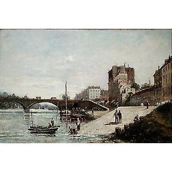 The Seine and the Port of Courbevoie (oil on.. - Art Print