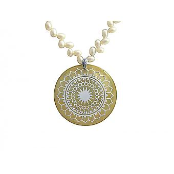 Gemshine womens necklace pendant medallion beads 925 silver white 5 cm