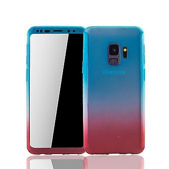 Samsung Galaxy S9 mobiili Asuminen Schutzcase koko kattaa 360 näytön suoja folio sininen / punainen