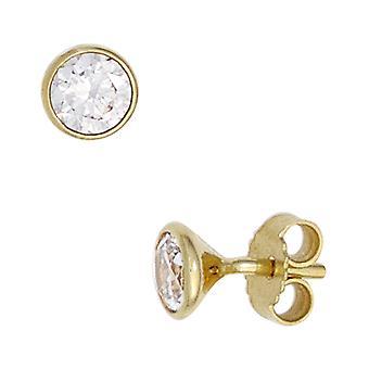 Hengsten los rond 333 goud geel goud 2 cubic Zirkonia oorbellen goud